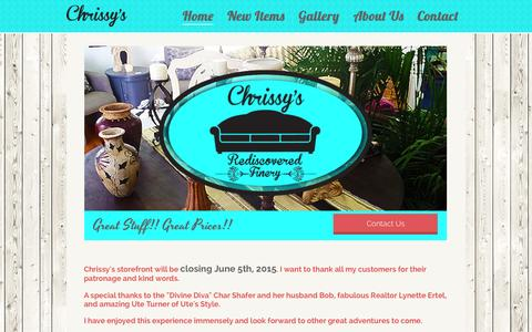 Screenshot of Home Page chrissysrediscoveredfinery.com - specializes in furniture resale. Visit us to see our full selection of used furniture in Woodland. - captured Sept. 3, 2015
