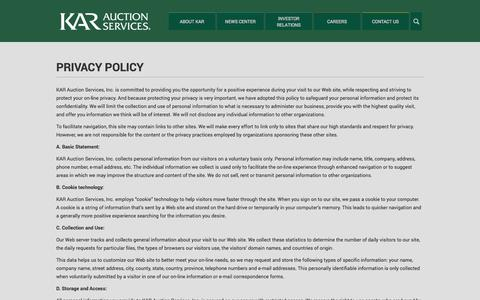 Screenshot of Privacy Page karauctionservices.com - Privacy Policy | KAR Auction Services - captured Oct. 6, 2014