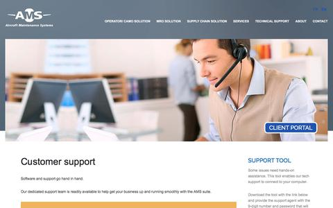 Screenshot of Support Page aircraftms.com - Customer Support - captured Jan. 9, 2020