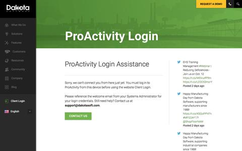 Screenshot of Login Page dakotasoft.com - ProActivity Login | Dakota Software for Environmental Health & Safety Compliance - captured Oct. 12, 2017