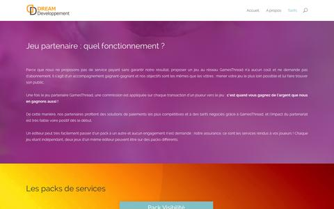 Screenshot of Pricing Page dream-developpement.com - Tarifs | Dream Developpement - captured Oct. 27, 2014