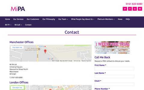 Screenshot of Contact Page mi-pa.co.uk - Contact Mi PA - Talk to us today | Mi PA - captured Oct. 18, 2017