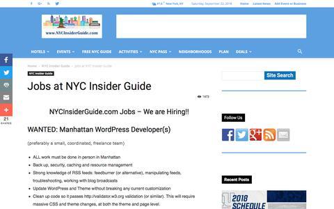 Screenshot of Jobs Page nycinsiderguide.com - Jobs at NYC Insider Guide – Wordpress Developers Manhattan, New York City - captured Sept. 25, 2018