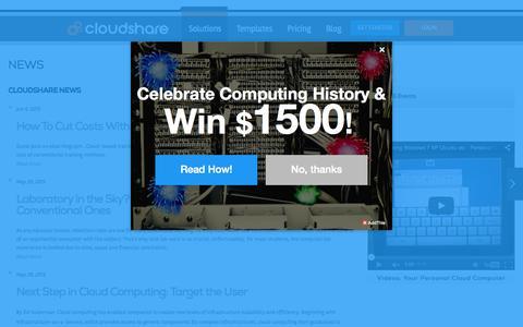 Screenshot of Press Page cloudshare.com - News and Events | CloudShare - captured Nov. 6, 2015