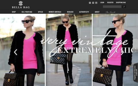 Screenshot of Home Page bellabag.com - Pre Owned Louis Vuitton Bags, Consignment, Authentic Chanel Handbags Sale Online At Bellabag.Com - captured Sept. 19, 2014