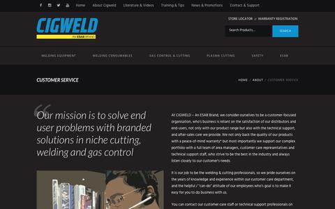 Screenshot of Support Page cigweld.com.au - Customer Service – Cigweld - captured July 9, 2017