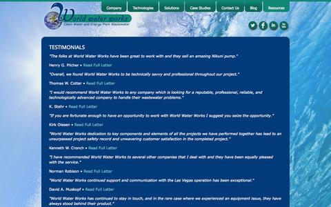 Screenshot of Testimonials Page worldwaterworks.com - World Water Works, Inc. :: Testimonials - captured Oct. 26, 2014