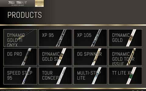 Screenshot of Products Page truetemper.com - True Temper Golf - captured Sept. 19, 2014