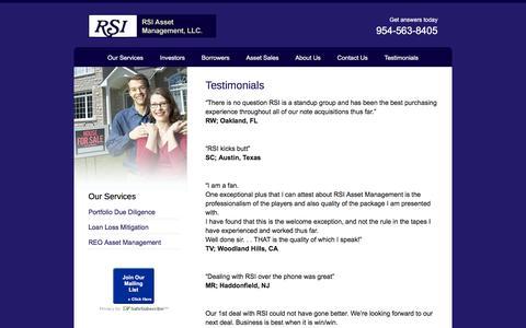 Screenshot of Testimonials Page rsiasset.com - Testimonials - RSI Asset Management, LLC - captured Feb. 15, 2016