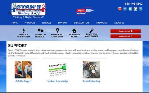 Screenshot of Support Page stanshvaconline.com - Stan's HVAC Services, HVAC Support - Pennsauken, NJ 08110 - captured May 29, 2019