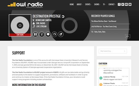Screenshot of Support Page ksuradio.com - Support | Owl Radio - captured Nov. 27, 2016