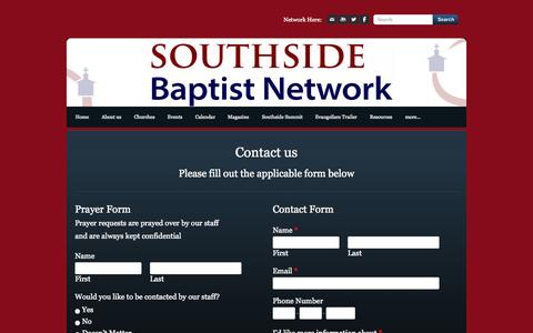 Screenshot of Contact Page southsidebaptistnetwork.org - Contact Us - Southside Baptist Network - captured Oct. 7, 2014