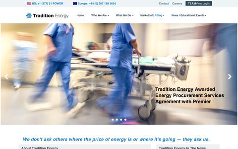 Screenshot of Home Page traditionenergy.com - Tradition Energy | Energy Consulting Firms, Energy Broker - captured Nov. 9, 2019