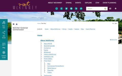 Screenshot of Site Map Page visitmckinney.com - McKinney CVB, TX - Official Website - captured Oct. 18, 2017