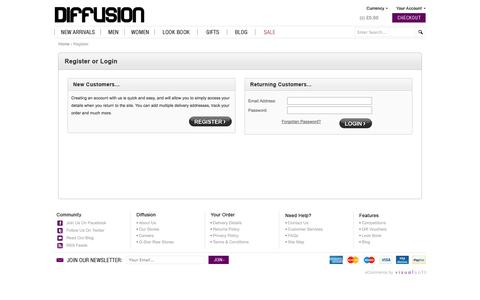 Screenshot of Login Page diffusiononline.co.uk - Designer Clothes | Buy Perfect Designer Clothes | Diffusion - captured Sept. 25, 2014