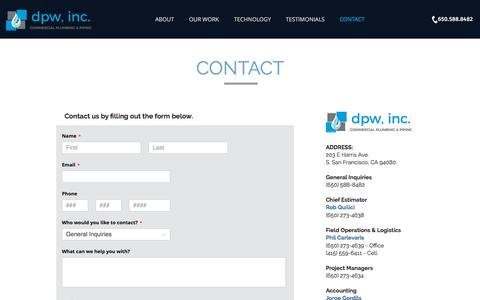 Screenshot of Contact Page dpwinc.com - dpw, inc. - contact - captured Aug. 9, 2018