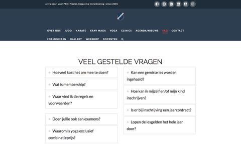 Screenshot of FAQ Page jayra.nl - faq veel gestelde vragen jayra sport | Judo, Karate en Krav Maga voor kinderen en volwassenen in Rotterdam Kralingen - captured May 26, 2017
