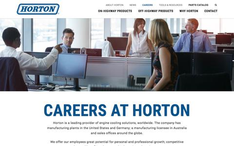 Screenshot of Jobs Page hortonww.com - Careers at Horton | Industrial Cooling Fans - captured Sept. 3, 2017