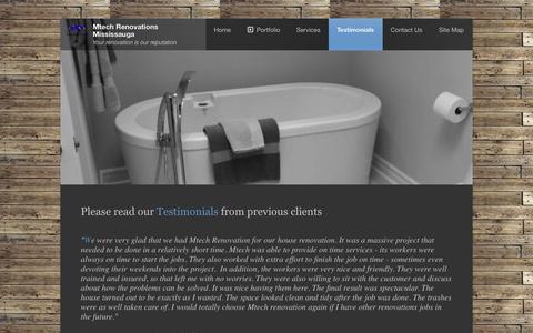 Screenshot of Testimonials Page mtechreno.ca - Renovation testimonials, Bathroom Renovations, Basement Remodeling - captured Oct. 26, 2014