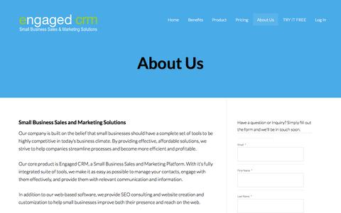 Screenshot of About Page engagedcrm.com - About Us - Small Business Sales and Marketing Software - captured Sept. 30, 2014
