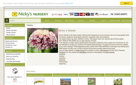 Screenshot of Home Page nickys-nursery.co.uk - Nickys Nursery seed company view our extensive range online - captured Oct. 9, 2017