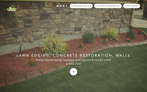 Screenshot of Home Page abetteredge.com - Landscape Edging in Colorado Springs, Lawn and Garden borders from concrete that look great. Colorado Landscaping for your Lawn and Garden EdgingFree Estimates - captured July 18, 2015