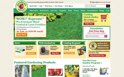Screenshot of Home Page gardensalive.com - Gardens Alive - Organic Gardening, Lawn Care, and Natural Pest Solutions - captured Sept. 24, 2014