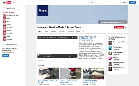Screenshot of YouTube Page youtube.com - Impermeabilización Maris Polymers Spain  - YouTube - captured Oct. 23, 2014