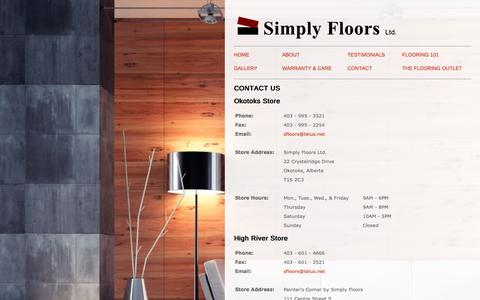 Screenshot of Contact Page Locations Page simplyfloors.ca - Simply Floors   Contact - captured Oct. 26, 2014