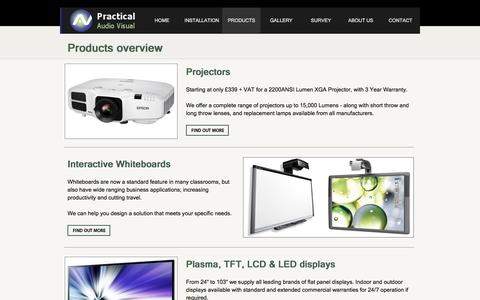 Screenshot of Products Page practicalav.co.uk - Audio Visual Products installed by PracticalAV - captured Nov. 10, 2016