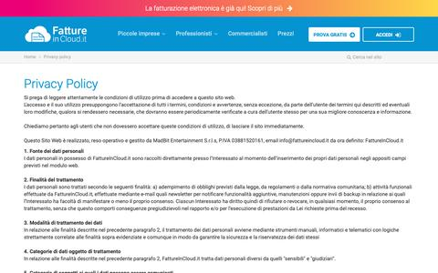 Screenshot of Privacy Page fattureincloud.it - Privacy policy | Fatture in Cloud - captured Feb. 11, 2019
