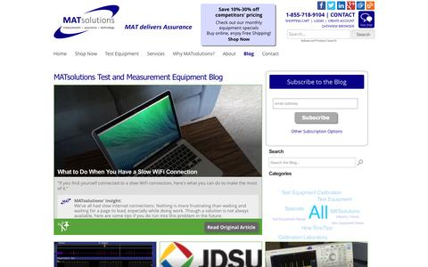 Screenshot of Blog matsolutions.com - Electrical Test Equipment Calibration Services | Used Laboratory Equipment Sales | MATsolutions - captured Aug. 2, 2015