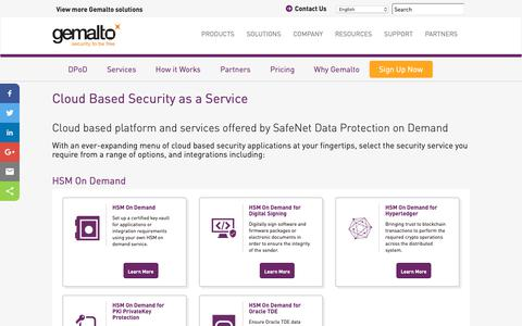 Screenshot of Services Page gemalto.com - Cloud Based Security as a Service | Data Protection on Demand from Gemalto - captured Oct. 17, 2018