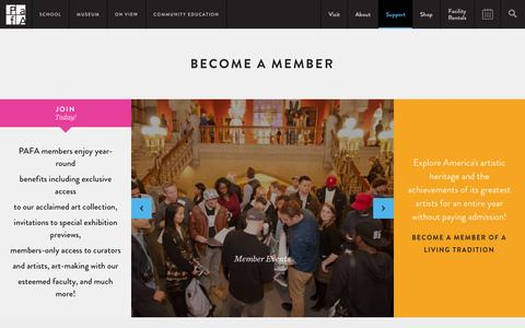 Screenshot of Signup Page pafa.org - Become a Member | Become a PAFA Member - captured Jan. 18, 2016