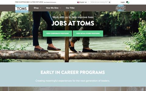 Screenshot of Jobs Page toms.com - Jobs at TOMS | TOMS - captured Dec. 11, 2015