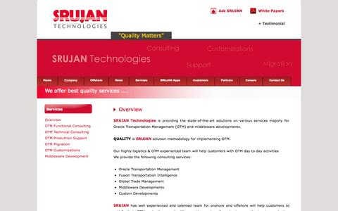 Screenshot of Services Page srujantechnologies.com - Services - captured Oct. 3, 2014