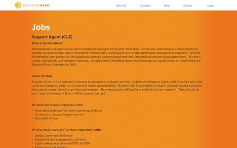 Screenshot of Jobs Page decisiondesk.com - Jobs | DecisionDesk - captured Sept. 11, 2014