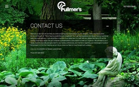 Screenshot of Contact Page fullmers.com - Contact Us | Fullmers Landscaping - captured Feb. 10, 2016