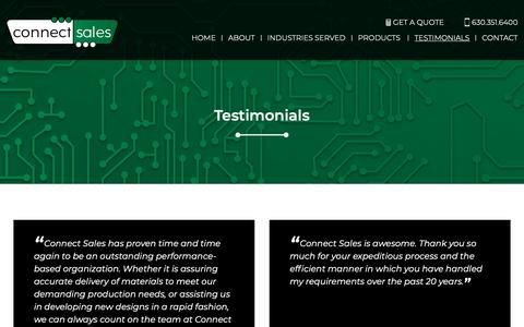 Screenshot of Testimonials Page connectsales.net - Testimonials – Connect Sales - captured Nov. 5, 2018