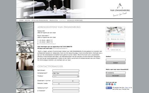 Screenshot of Contact Page vanzwanenburg.nl - Van Zwanenburg - Contact - captured Oct. 27, 2014
