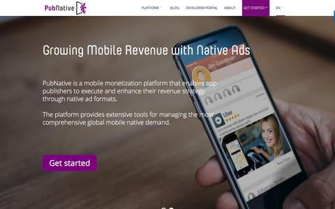 Screenshot of Home Page pubnative.net - PubNative - Growing Mobile Revenue with Native Ads - captured Nov. 8, 2016