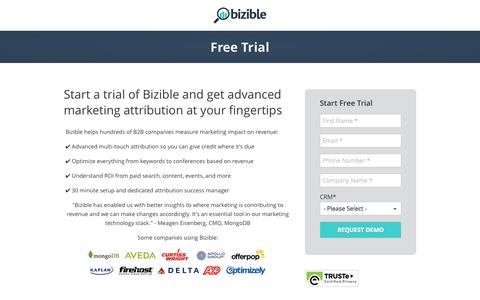 Screenshot of Trial Page bizible.com - B2B Marketing Attribution Trial - captured Nov. 14, 2015