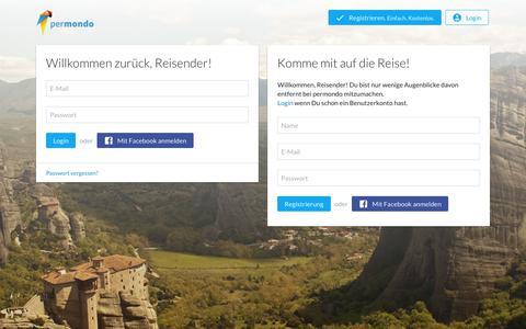 Screenshot of Signup Page permondo.com - permondo erzählt die Geschichte deiner Reise - captured Sept. 24, 2018