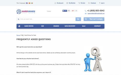 Screenshot of FAQ Page harddrivesforsale.com - FAQ - Hard Drives For Sale - captured Dec. 7, 2015