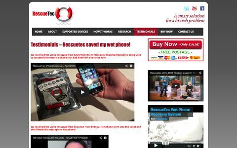 Screenshot of Testimonials Page rescuetec.com.au - RescueTec fixed my wet mobile phone - Testimonials | Rescuetec - captured Oct. 8, 2014