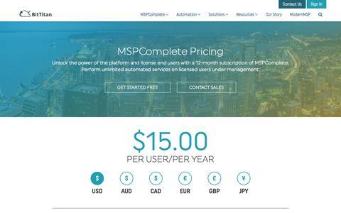 Screenshot of Pricing Page bittitan.com - Pricing - BitTitan - captured April 6, 2017