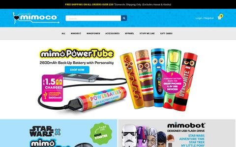 Screenshot of Home Page mimoco.com - Mimoco: Makers of the Coolest Designer USB Flash Drives - captured July 11, 2014
