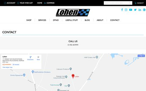 Screenshot of Contact Page lohen.co.uk - Contact Us - captured July 22, 2018