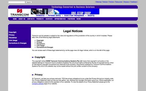 Screenshot of Privacy Page transcom.com.au - Transcom - Legal Notices - captured Oct. 3, 2014