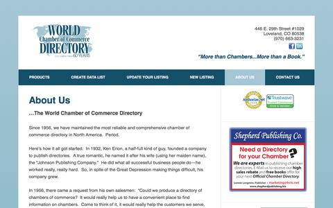 Screenshot of About Page chamberdirectoryonline.com - About Us - World Chamber of Commerce Directory - captured Nov. 30, 2016